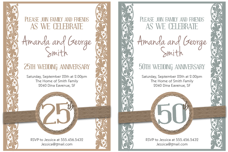 Printable Wedding Anniversary Invitation Cards Yaseen for – 50th Wedding Anniversary Invitation Templates Free