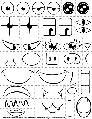 Printable Kids Activity: Make a Face/Exploring emotions.
