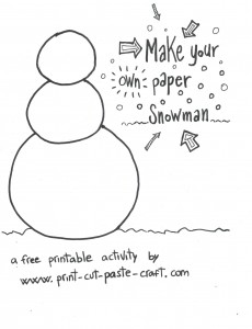 Free Printable Kids Activity: Build a Snowman Page 1 - Snowman Body. by Print-cut-paste-craft.com not for commercial reuse.