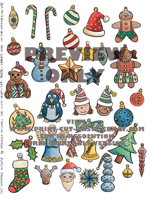 PREVIEW Free Printable Color Ornaments for Christmas Tree Activity by www.print-cut-paste-craft.com