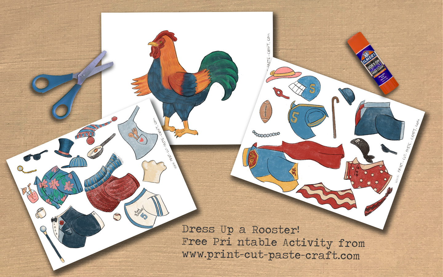 Dress a Rooster Printable Activity Preview