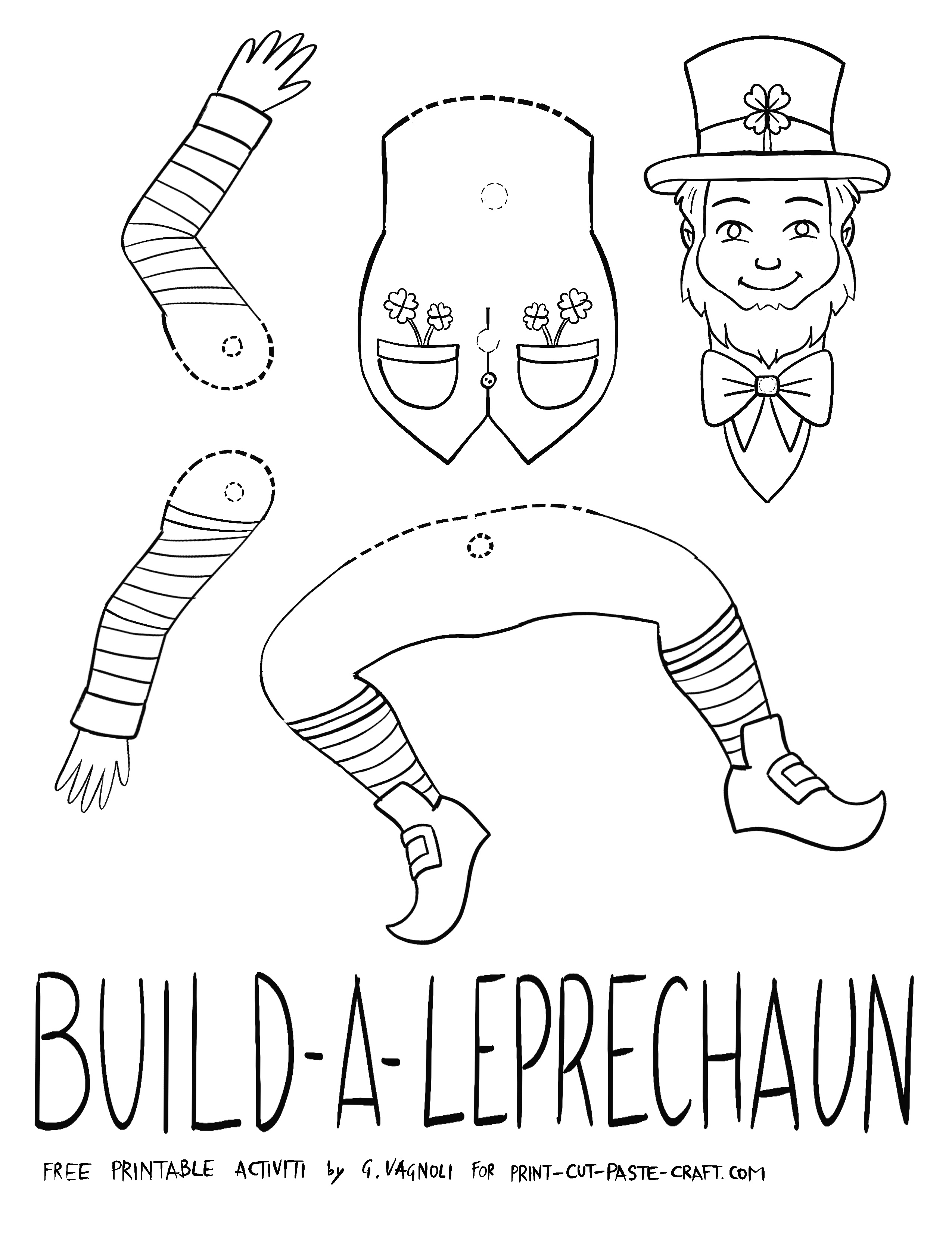 Build a Leprechaun Free Printable Activity by Gabriella Vagnoli for print-cut-paste-craft.com
