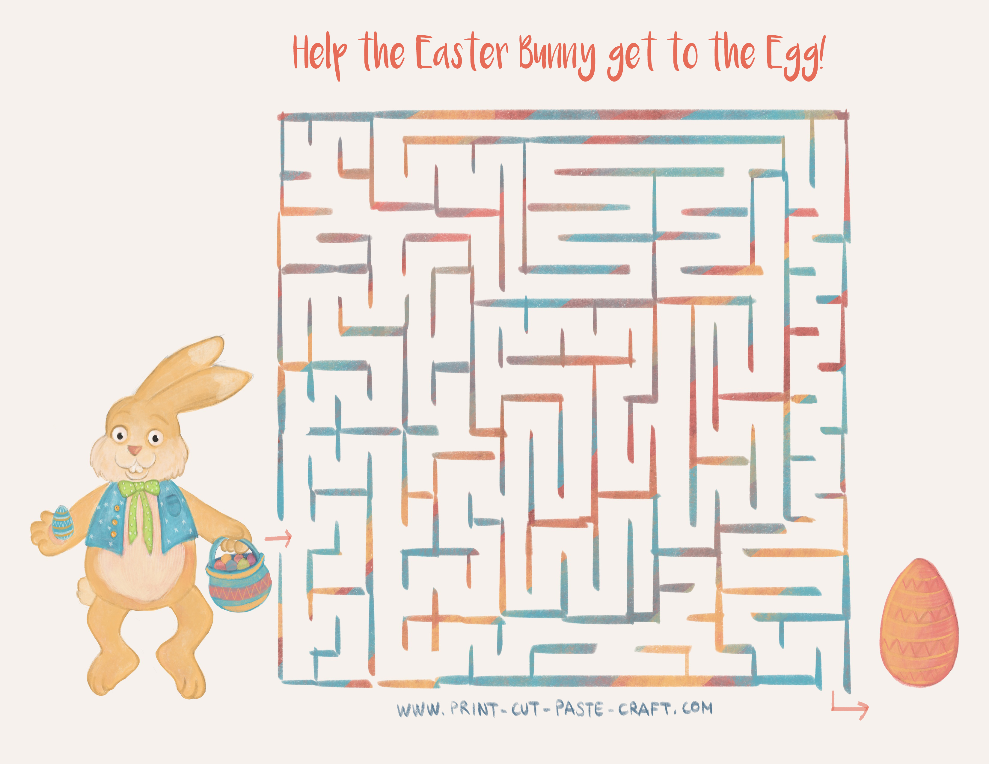 Free Printable Easter Activity: Help the Bunny reach the egg through the maze!
