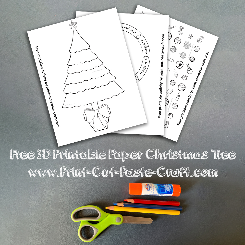 3D Free Printable Paper Christmas Tree Color Cut and Paste Kids and Family Activity.